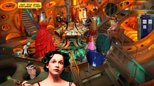 Inside the TARDIS you'll find Jenny wielding a sonic screwdriver, Neil Gaiman in a monkey hat, Beyonce the giant metal chicken, Hamlet von Schnitzel, Juanita Weasel in a Traveling Red Dress, Nathan Fillion holding twine, A TARDIS in the TARDIS for time traveling when you're traveling in time, Wil Wheaton collating paper, and a Wolf Blitzer at the door.