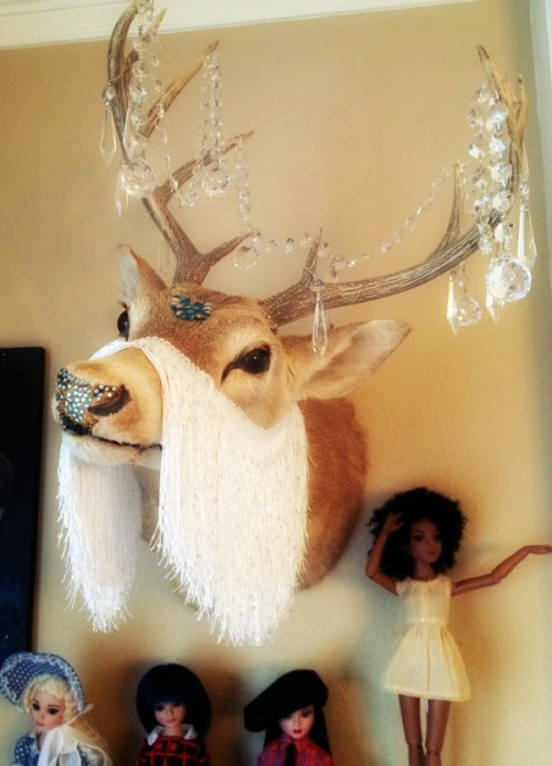 I made this.  Not the deer.  The deer was rescued from a flea market.  But I did bedazzle his nose and make him magical.