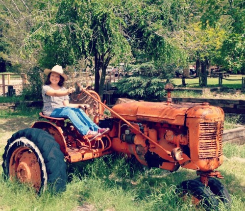 Hailey on a tractor made entirely from tetanus.